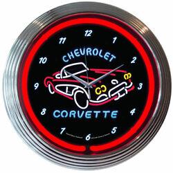Corvette C1 Neon Clock Cars Gameroom Basement Mancave Garage Wall Art Decor