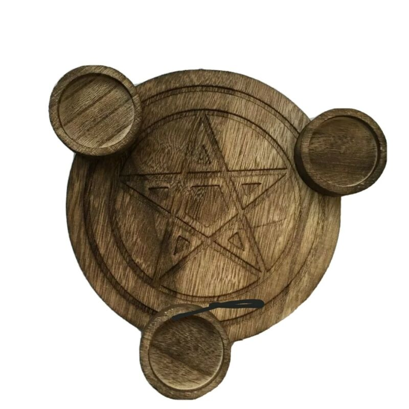 Carved Wooden Pentacle Altar for Wicca or Pagan Practice