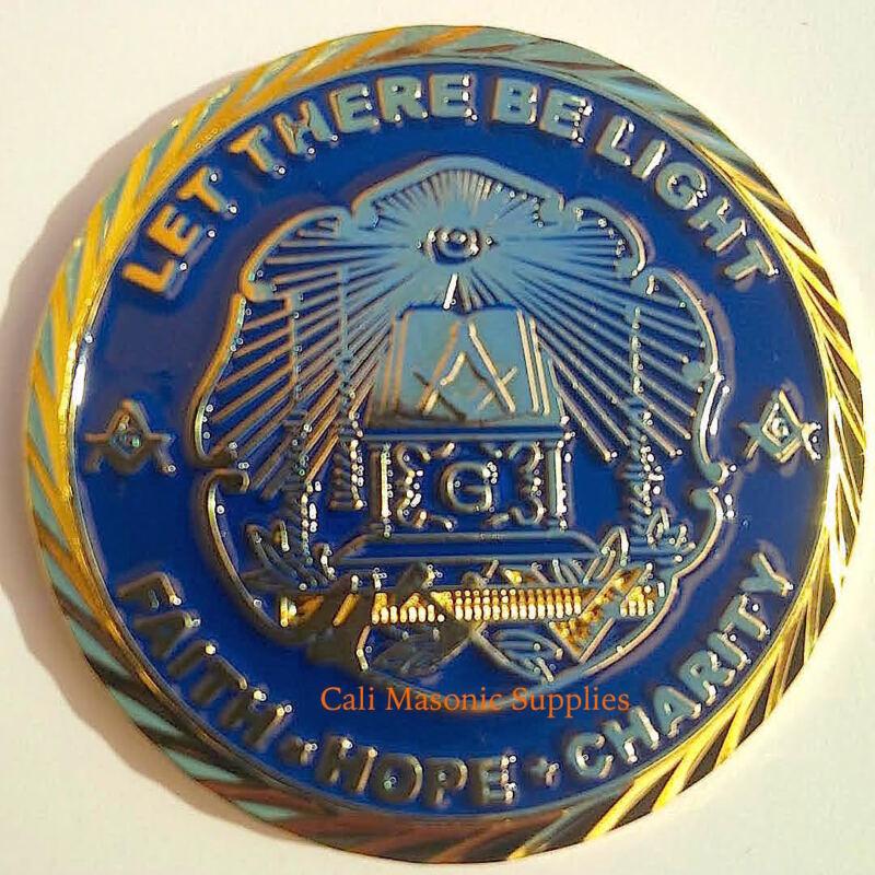 "Master Mason Let there be light Commemorative  Thick coin 1.75"" Freemasonry"