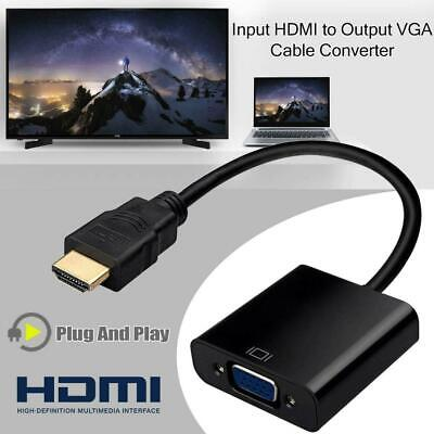 NEW HDMI to VGA Video Cable Converter Adapter SVGA RGB HDTV 1080P PC PS3 XBOX UK