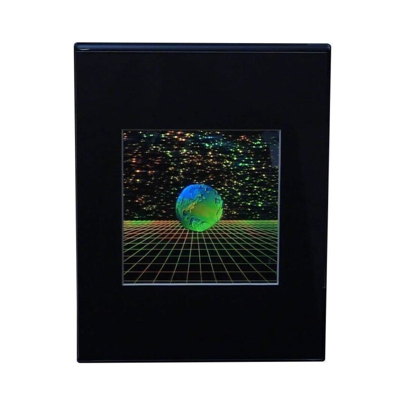 3D Earth with Grid Hologram Picture DESK STAND, Collectible EMBOSSED Type Film