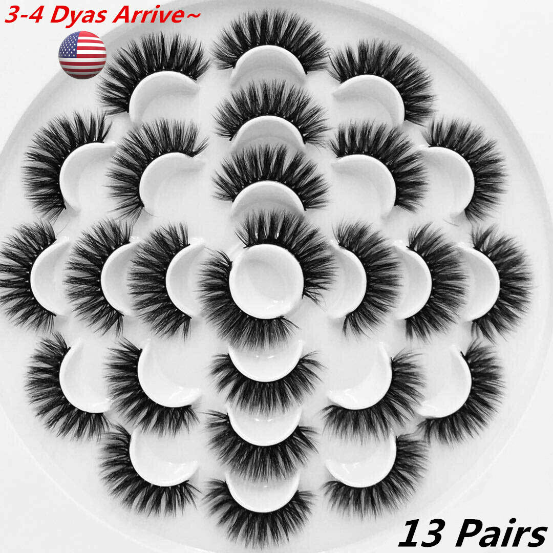 13 Pair 3D Natural Bushy Cross False Eyelashes Mink Hair Eye