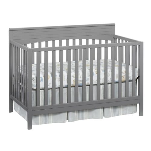 Convertible Crib Baby 4-in-1 Guard Rail Toddler Bed Daybed Full Size Wooden Grey