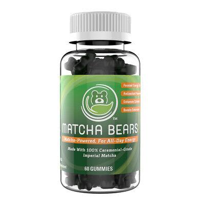 Matcha Bears Green Tea Matcha Infused Gummy Vitamins (60 Count) - Green Gummy Bears