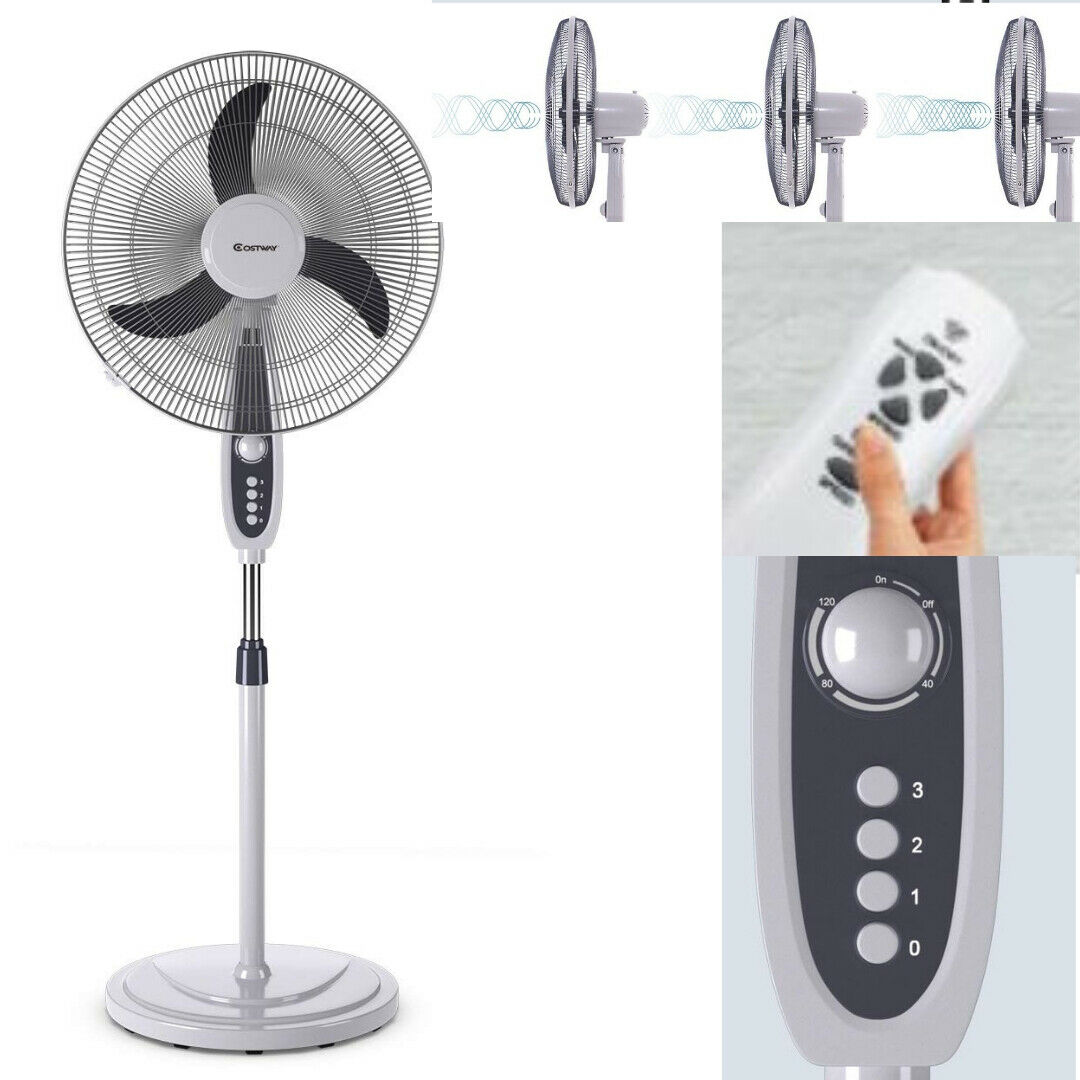 3-Speed Oscillating Pedestal Fan With Remote Control 18 Inch