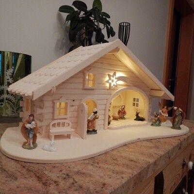 Krippe Weihnachtskrippe Holz LED 2 Varianten Krippen Stall 11 Stück Figuren Weihnachten Krippe