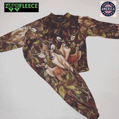 ZooFleece Brown Deer Kids Pajamas PJs Hunting Buck Animal Child Boys 2 Piece Set Brown Boys Pajamas