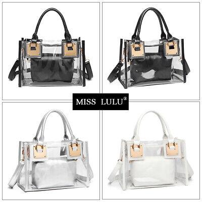 Ladies Clear Transparent Tote Handbag Casual Crossbody Messenger Shoulder Bag