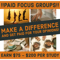 !! Participate in Focus Group Survey Studies & Earn $75-$200 !!
