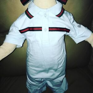 Gucci inspired onesie with cap