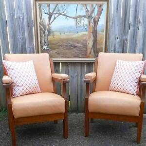 Reduced to SELL!! 2x Midcentury Teak wood & Leather Armchairs Runcorn Brisbane South West Preview