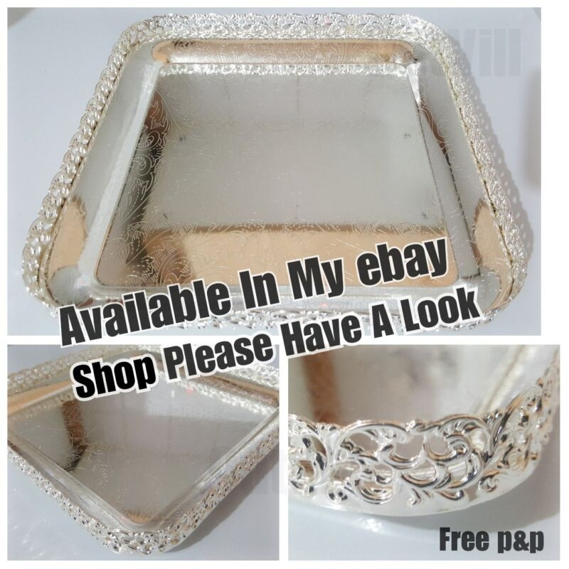 Silver Plate Indian Round Gallery Tray Plate Paandan Paan Leaf Tea Tray Biscuit