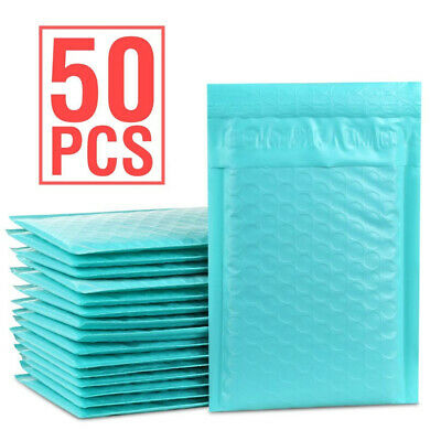 Durable Padded Envelopes 4x8 Bubble Wrap Mailers Poly Small Bags Teal Jewelry 50