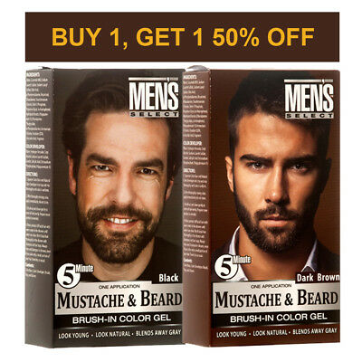 Men's Select Mustache and Beard Dye Black & Dark Brown Hair Color 5 Minute Gel](Mustache And Beard)