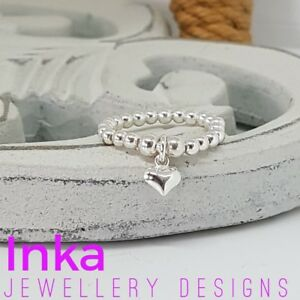 INKA Sterling Silver stacking Stretch Ring Thumb ring With mini Heart Charm