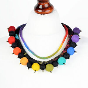 Designer necklace ETHNIC jewelry ART felt necklace, multicolor African necklace - <span itemprop='availableAtOrFrom'>Kęty, Polska</span> - Designer necklace ETHNIC jewelry ART felt necklace, multicolor African necklace - Kęty, Polska