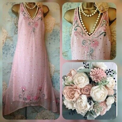 new gibson girl pink vtg lace bead 20s deco gatsby Flapper evening  dress 10 12