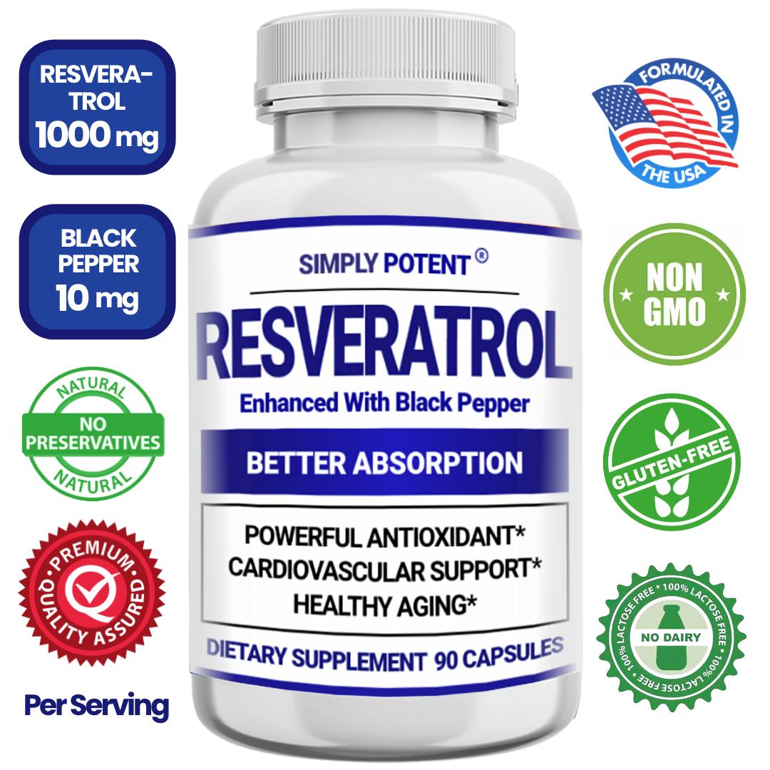 Resveratrol 1000mg Anti-aging Antioxidant for Skin Heart 90 Capsules