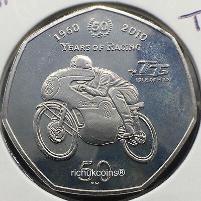 2010 IOM T.T. Suzuki Commeorative Diamond Finish 50p Coin