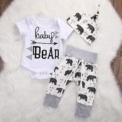 US Infant Girls Boy Baby Bear Romper Jumpsuit Pants Hat 3pcs Outfits Set -