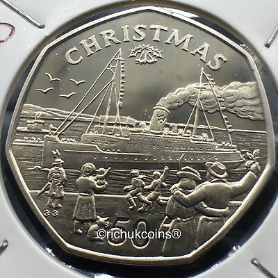 1990 IOM Xmas 50p Diamond Finish Coin with BB die marks