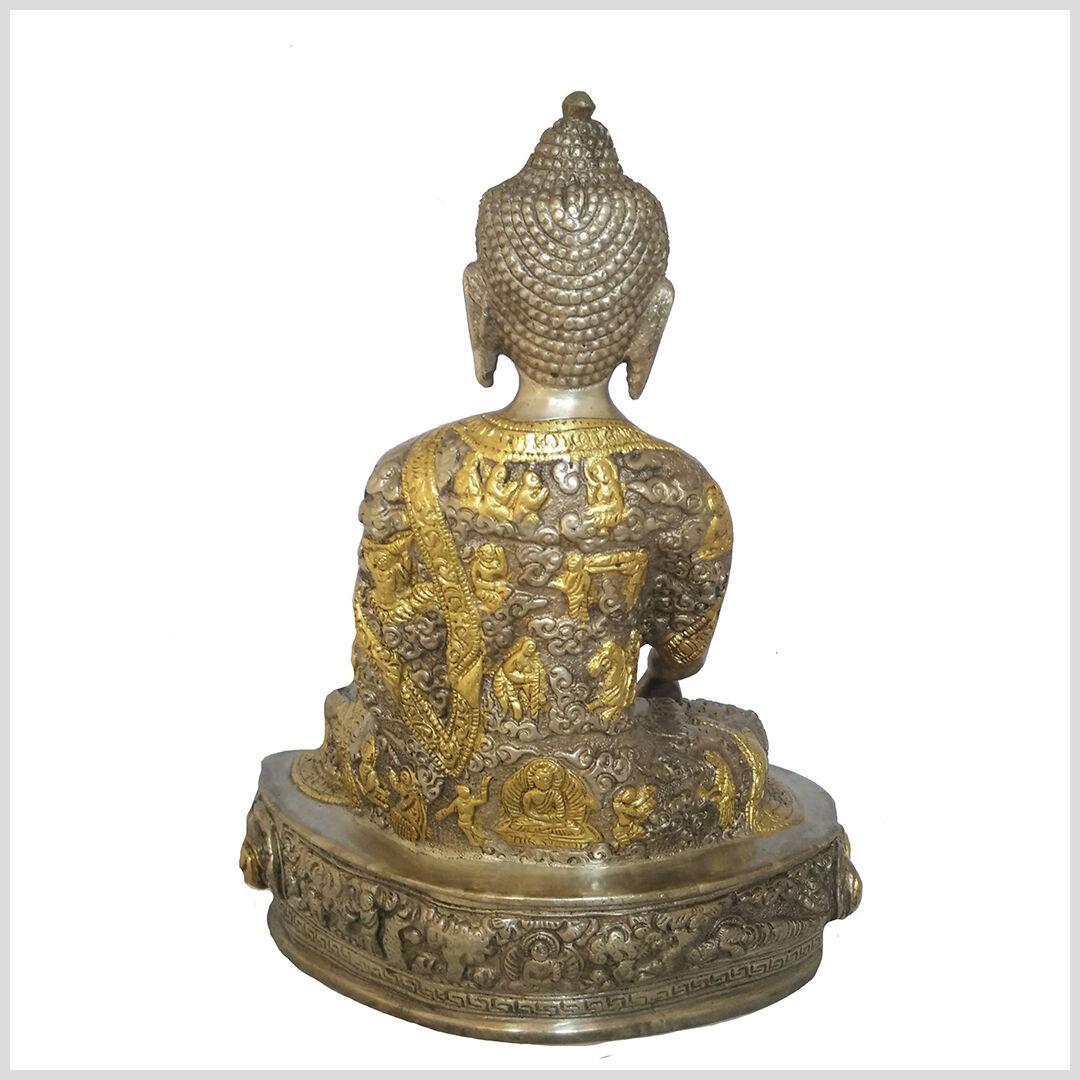 Erdender Buddha 23cm ca.2,6 KG Messing Silber Nepal Buddhismus Bhumisparsa Mudra