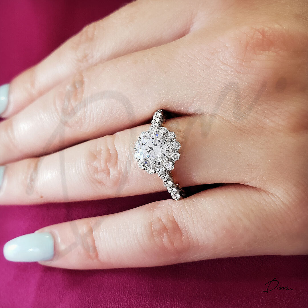 1.50 TCW Natural Scalloped Halo Pave Diamond Engagement Ring - GIA Certified 1