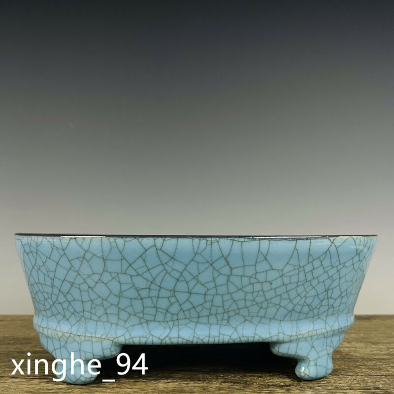 "9.1"" Old Song dynasty Porcelain ru kiln Blue glaze Ice crack four foot Flowerpot"