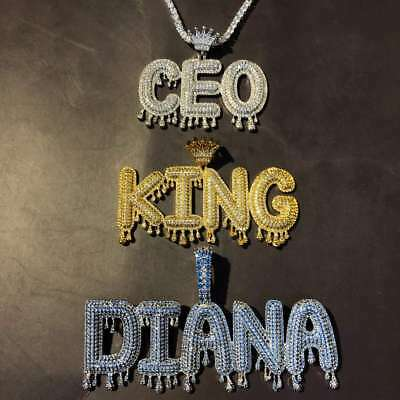 Crown Gold or silver Custom Bubble Letter Name Pendant ICED OUT Rapper Piece icy](Silver Bubble)