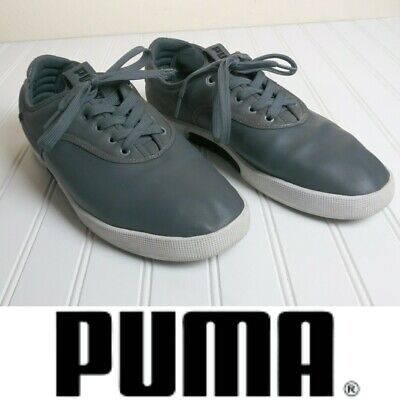Puma Gray Sport Lifestyle Athletic Lace Up Leather Sneaker Shoes Men's Size 11