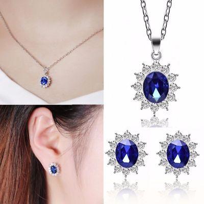 Hot Women Zircon Flower Pendant Necklace Earrings Crystal Wedding Jewelry Sets