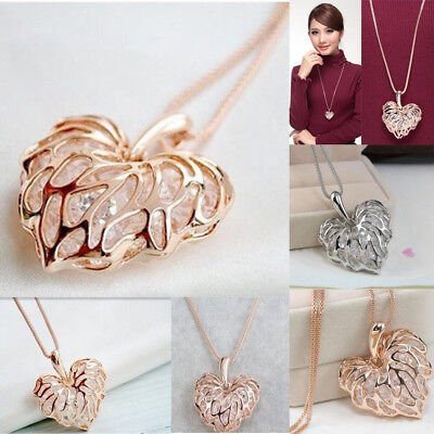 Donne alla moda placcato cava cuore ciondolo di cristallo catena collana regalo