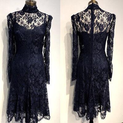 NWT DOLCE&GABBANA Flare High Neck Lace Dress 44/8
