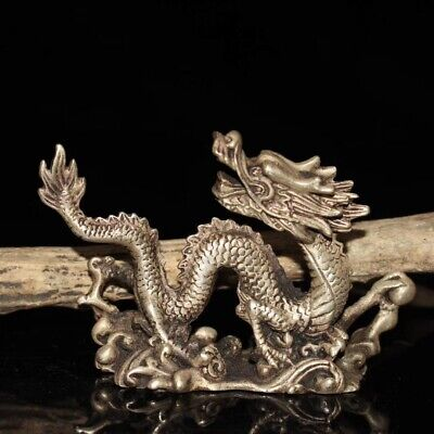 Old Decorated Handwork Miao Silver Carving Dragon Phoenix Ruyi Statue