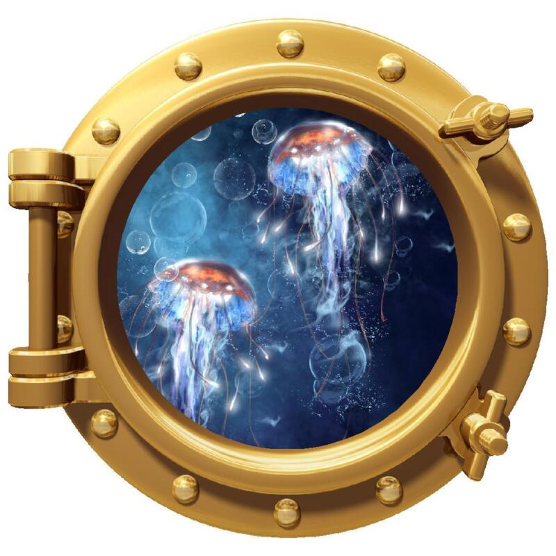 "12"" PortScape Sea Window JellyFish #2 Porthole Wall Decal Graphic Sticker Art"