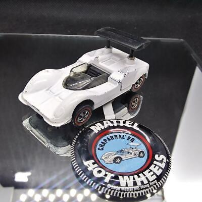 Hot Wheels Redline Original 1969 White Chaparral 2G with Pinback - NICE!