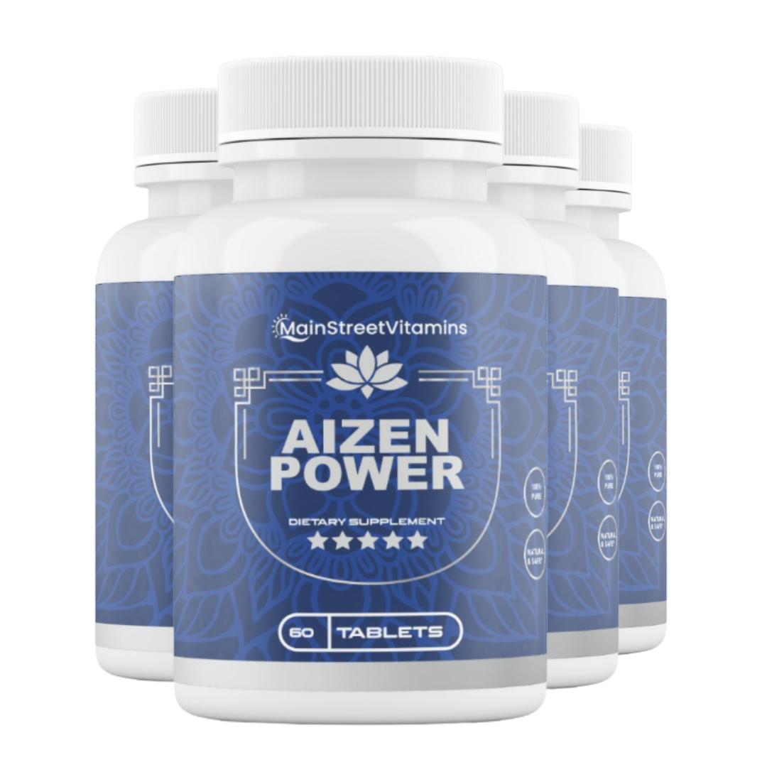 4 Bottles Aizen Power Supplement by Main Street Vitamins 60 Capsules