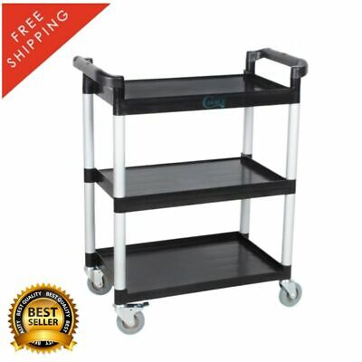 32 X 16 X 38 Black Utility Bus Cart With Three Shelves Plastic Open Durable