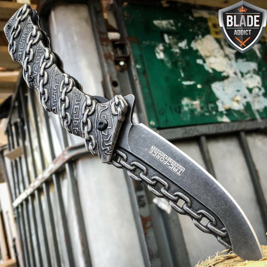 TAC-FORCE CHAIN Spring Assisted Open Folding Pocket Knife Combat Tactical New