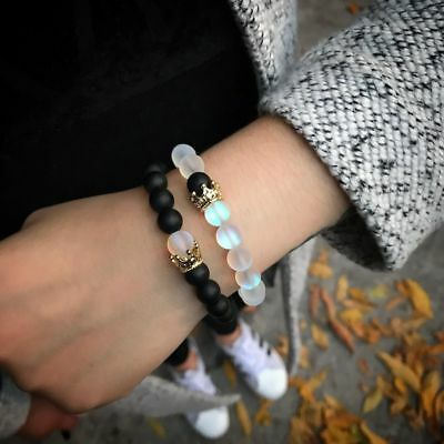 Couples Distance Bracelets Moonstone Stone Bead Lover Crown Men Women Bracelets