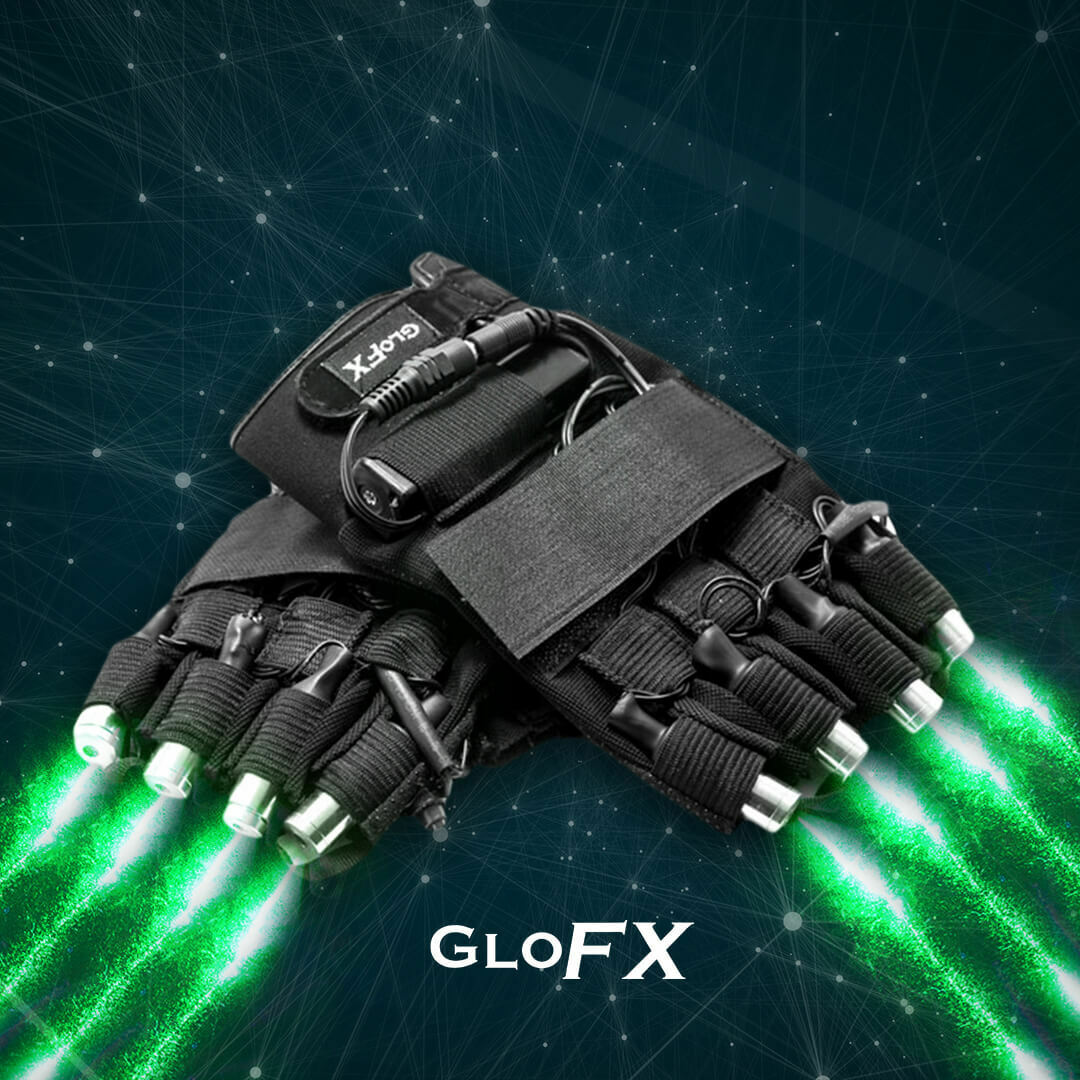 GloFX LRZ LASER GLOVES - Complete Set - USA High Powered Lazers Rave Club Party