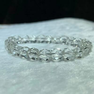 BRACELET - CLEAR QUARTZ Grade A Faceted 6mm Round Crystal Bead
