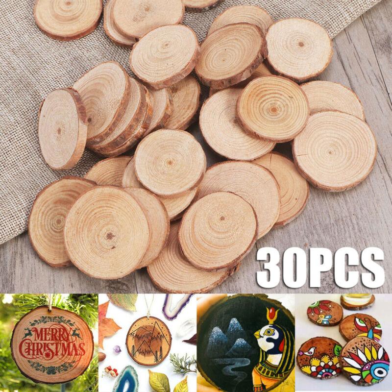 DIY US 30Pcs Wood Log Slices Pine Round Slices Wedding Pyrog