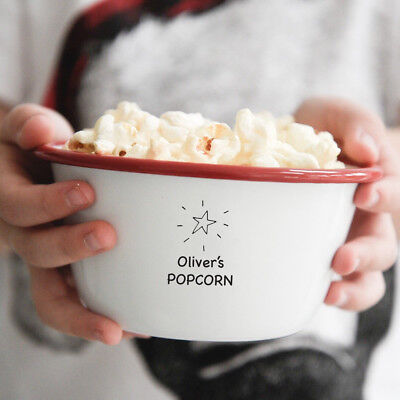 Personalised Children's Treats Enamel Popcorn Bowl Gift - Personalized Popcorn Bowl