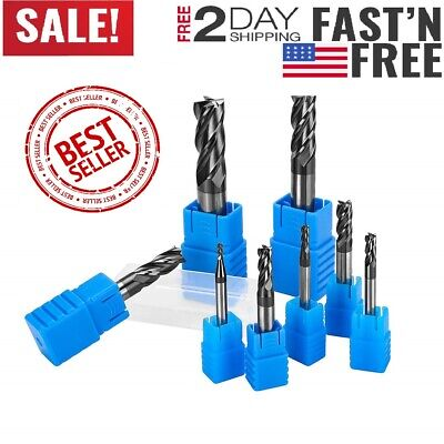 8pcs 4 Flutes Carbide End Mill Set Tungsten Steel Milling Cutter Tool Straight