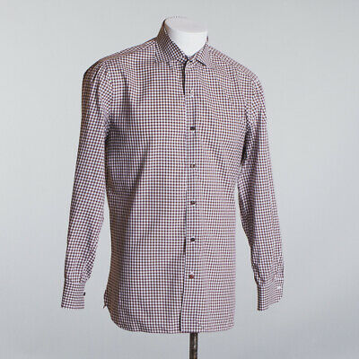 Isaia Napoli Shirt Size 16.5 Brown White Gingham Check