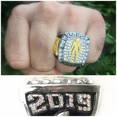 2019 Fantasy Football Championship Trophy Ring Silver Gold Plated +Display Case  ()