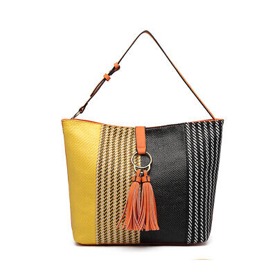 Women PU Leather Tassel Totes Shoulder Bag Ladies HOBO Color Block Large Handbag