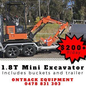 Hitachi zx17u 1.8t mini excavator dry hire $200