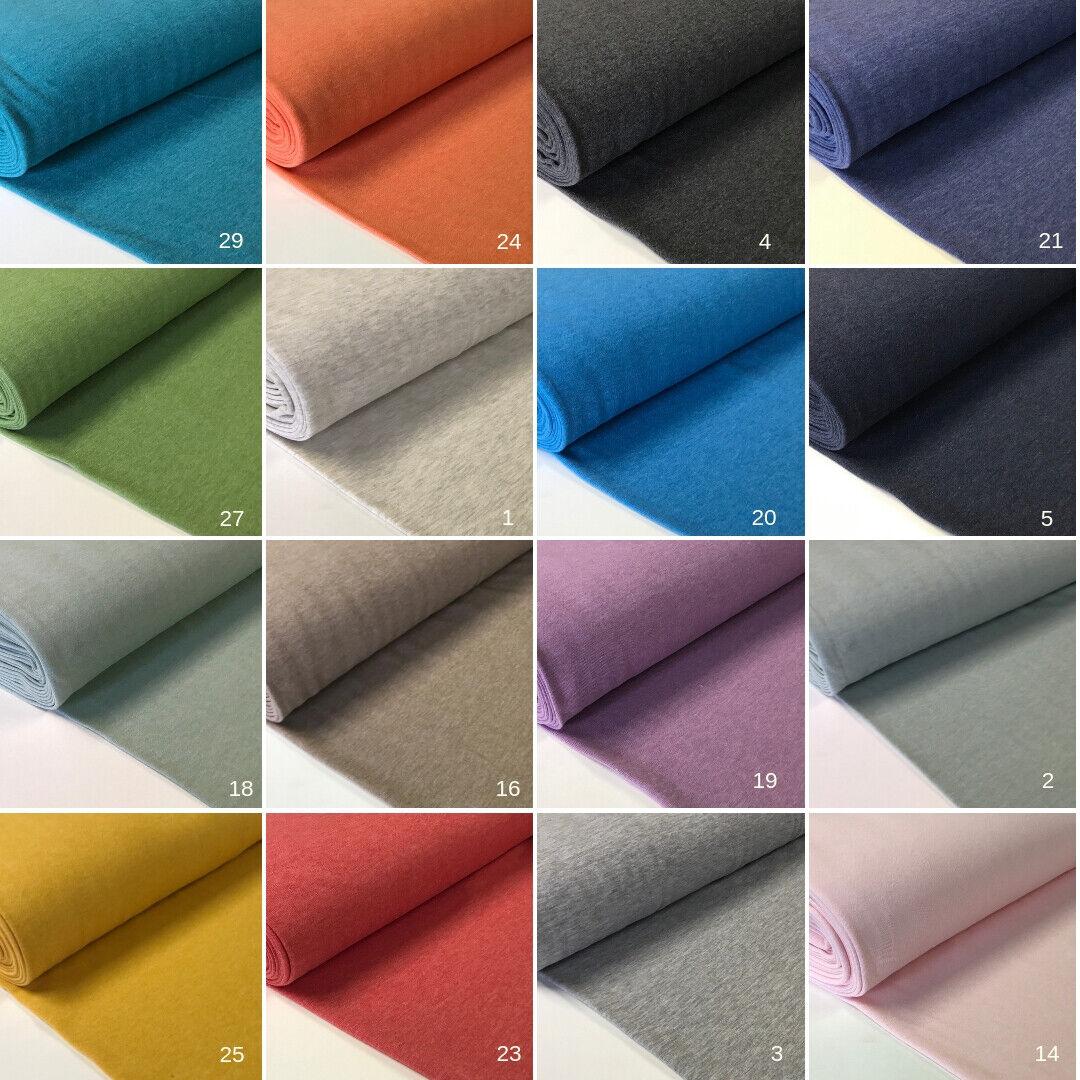 Sweatstoff meliert uni viele Farben METERWARE ÖKOTEX angeraut 140 cm breit
